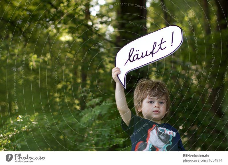läuft im Wald Mensch Kind Natur Sommer grün Umwelt sprechen natürlich Junge klein Denken maskulin Kindheit Kommunizieren Erfolg