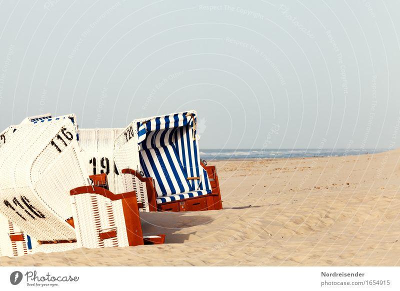 Nordseestrand Schwimmen & Baden Ferien & Urlaub & Reisen Tourismus Sommer Sommerurlaub Sonne Sonnenbad Strand Meer Sand Wasser Wolkenloser Himmel Schönes Wetter