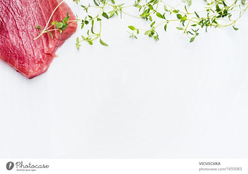 Thunfisch Steak mit frischen Kräutern Lebensmittel Fisch Kräuter & Gewürze Ernährung Mittagessen Festessen Bioprodukte Vegetarische Ernährung Diät Stil Design