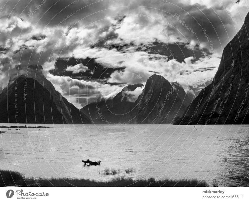 Mountain Meditation Schwarzweißfoto Außenaufnahme Menschenleer Tag Zentralperspektive Blick nach vorn harmonisch Erholung Ferien & Urlaub & Reisen Freiheit