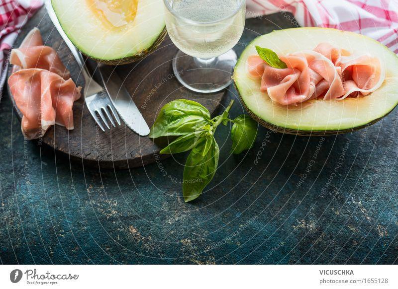 Italienische Küche, Melone mit Parma Schinken Lebensmittel Fleisch Wurstwaren Frucht Kräuter & Gewürze Ernährung Mittagessen Festessen Geschäftsessen Picknick