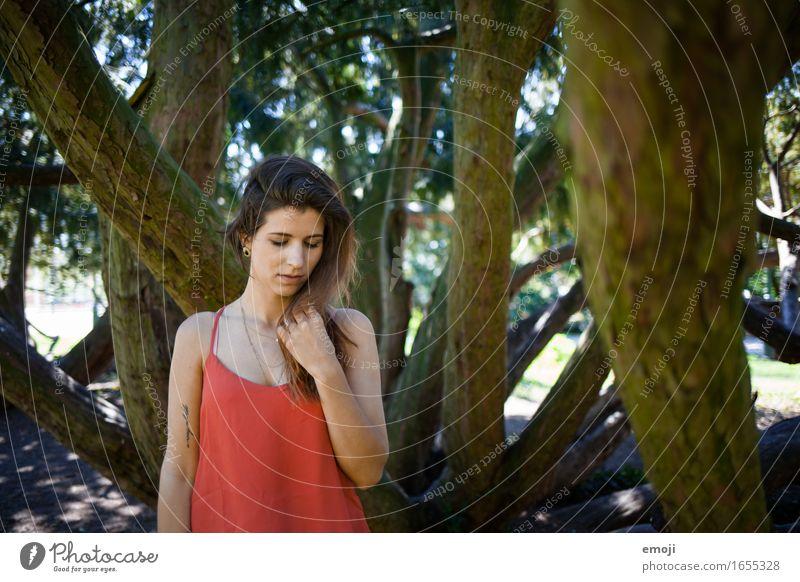 red feminin Junge Frau Jugendliche 1 Mensch 18-30 Jahre Erwachsene Natur schön Farbfoto mehrfarbig Außenaufnahme Tag Schwache Tiefenschärfe Oberkörper
