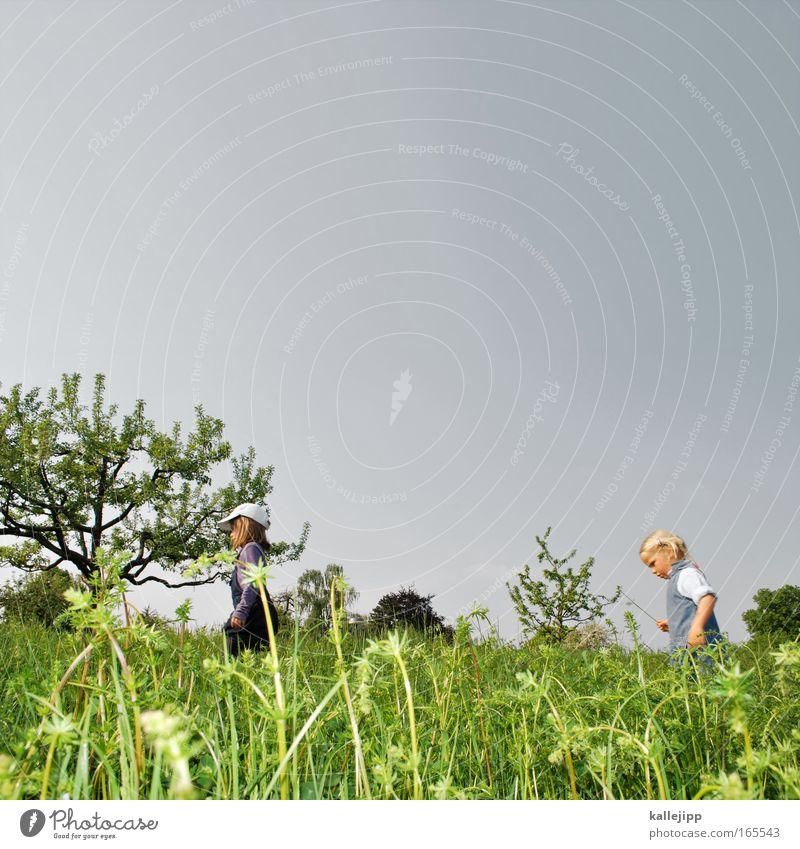 naturforscher Textfreiraum oben Tag Mädchen Kindheit 2 Mensch 3-8 Jahre Umwelt Natur Landschaft Pflanze Tier Himmel Frühling Sommer Klima Klimawandel