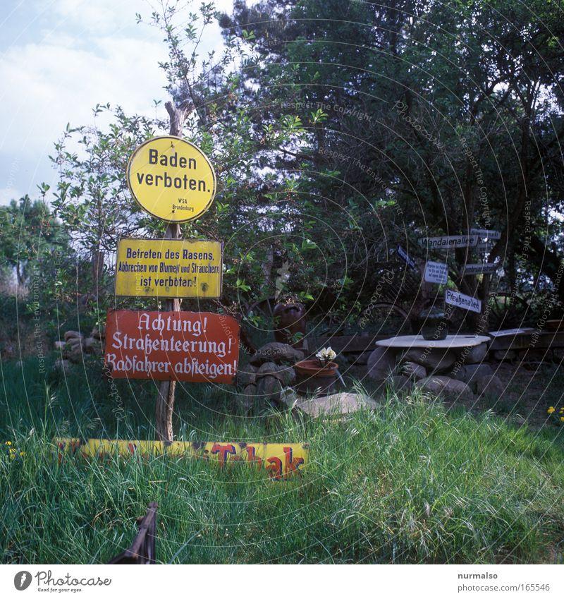 Baden, Betreten, Radfahren Verboten ! Farbe Wiese Wege & Pfade Garten Stil Kunst Schwimmen & Baden Schilder & Markierungen Schriftzeichen verrückt