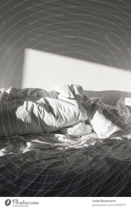 Bett Erholung ruhig Sonne Wohnung Raum Schlafzimmer Bettdecke Kissen Bettlaken schlafen einfach kuschlig weich weiß Leidenschaft Geborgenheit Liebe Erotik