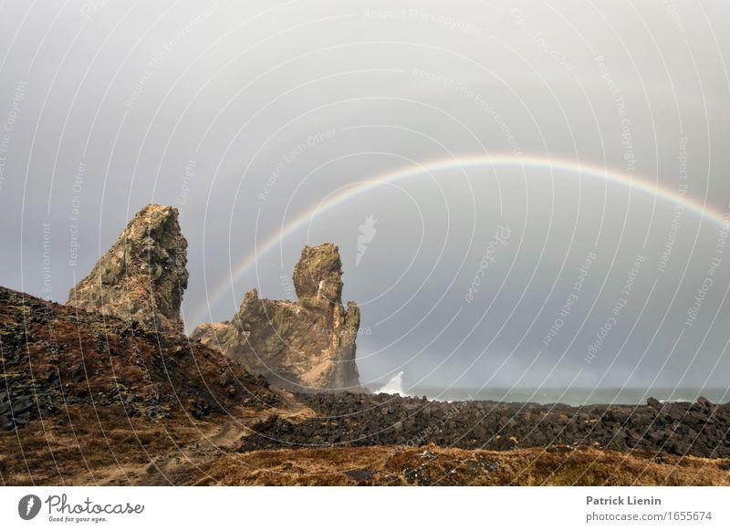 Double Rainbow Himmel Natur Ferien & Urlaub & Reisen Farbe schön Meer Landschaft Wolken Strand Berge u. Gebirge Umwelt Leben Frühling Küste Erde Felsen