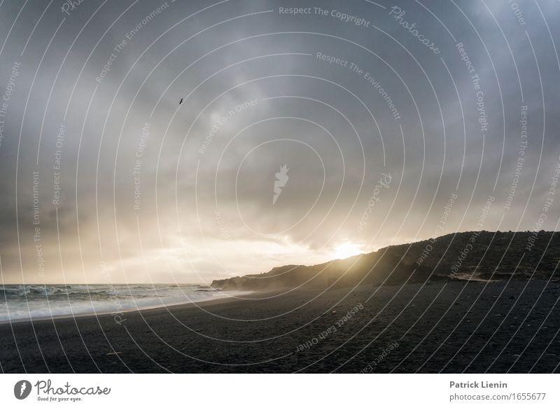 Djúpalónssandur schön Leben Ferien & Urlaub & Reisen Abenteuer Sonne Strand Meer Insel Wellen Umwelt Natur Landschaft Erde Himmel Wolken Klima Klimawandel