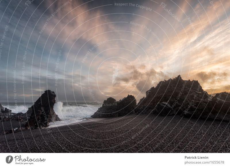 Djúpalónssandur schön Leben Ferien & Urlaub & Reisen Abenteuer Strand Meer Insel Wellen Umwelt Natur Landschaft Tier Erde Himmel Wolken Klima Klimawandel Wetter