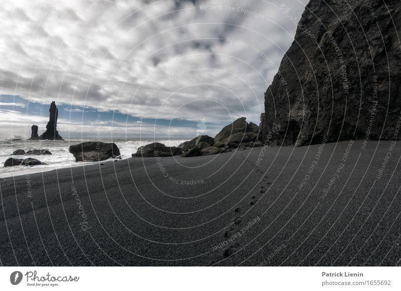 Schwarzer Strand schön Leben Ferien & Urlaub & Reisen Abenteuer Meer Insel Wellen Umwelt Natur Landschaft Urelemente Sand Erde Himmel Wolken Klima Klimawandel
