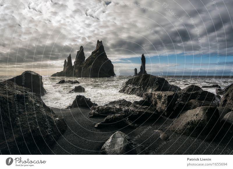 Reynisfiara Himmel Natur Ferien & Urlaub & Reisen schön Meer Landschaft Wolken Strand Umwelt Leben Frühling Küste Erde Felsen Wetter