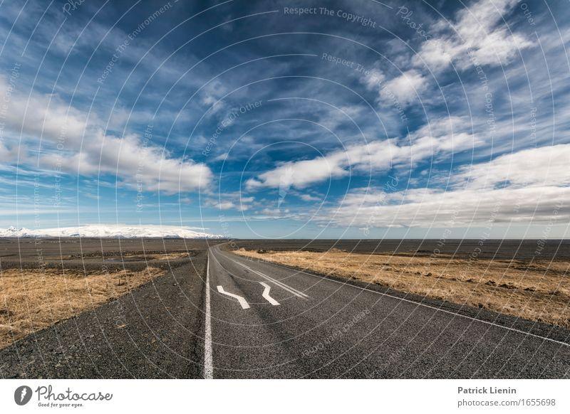 Highway in Iceland schön Leben Ferien & Urlaub & Reisen Abenteuer Ferne Insel Umwelt Natur Landschaft Urelemente Erde Luft Himmel Wolken Horizont Klima