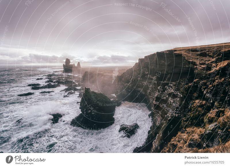 Snæfellsnes schön Leben Ferien & Urlaub & Reisen Abenteuer Strand Meer Insel Wellen Umwelt Natur Landschaft Tier Erde Himmel Wolken Klima Klimawandel Wetter