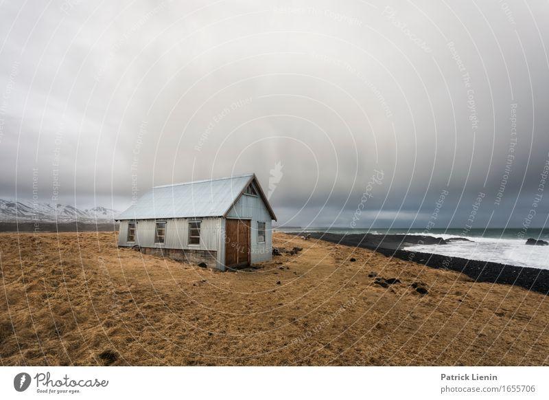 Haus am Meer schön Leben Ferien & Urlaub & Reisen Abenteuer Strand Insel Umwelt Natur Landschaft Urelemente Erde Wasser Himmel Wolken Klima Klimawandel Wetter