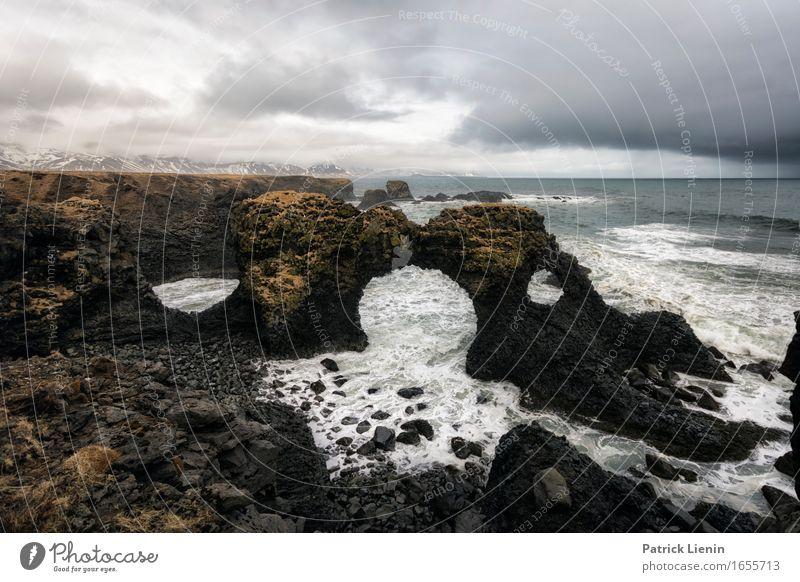 Gatklettur schön Leben Ferien & Urlaub & Reisen Abenteuer Strand Meer Insel Wellen Umwelt Landschaft Tier Himmel Wolken Klima Klimawandel Wetter
