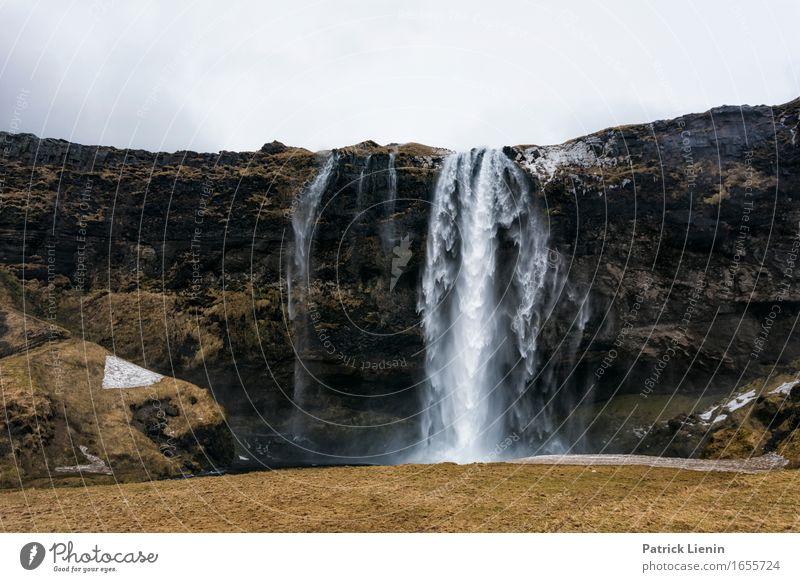 Seljalandsfoss Himmel Natur Ferien & Urlaub & Reisen schön grün Wasser Landschaft Erholung Berge u. Gebirge Umwelt Leben Wiese natürlich Erde Tourismus Wetter