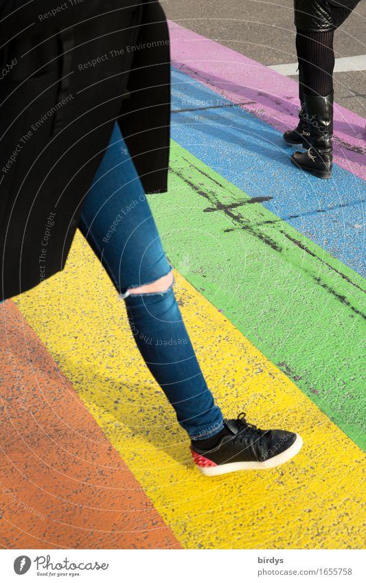 over the rainbow Lifestyle Stil Design feminin Junge Frau Jugendliche Beine 2 Mensch 18-30 Jahre Erwachsene Maastricht Fußgänger Straße Zebrastreifen Mode
