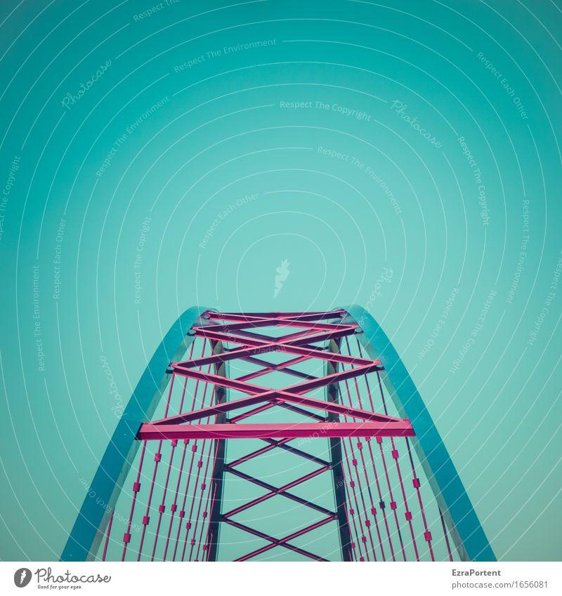 Streben Technik & Technologie Himmel Wolkenloser Himmel Brücke Architektur Verkehrswege Metall Stahl Linie Streifen ästhetisch blau rot Kraft Vertrauen