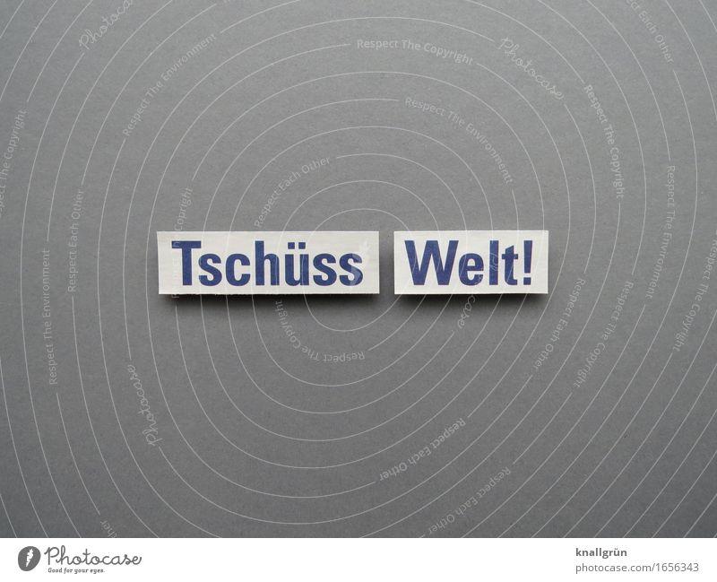 Tschüss Welt! Schriftzeichen Schilder & Markierungen Kommunizieren blau grau weiß Gefühle Stimmung Traurigkeit Trauer Tod Einsamkeit Endzeitstimmung Erwartung