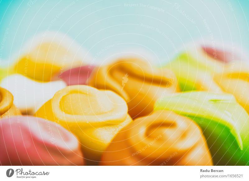 Bunte Fondant-Süßigkeiten Lebensmittel Dessert Süßwaren Ernährung Essen Fressen füttern hell lecker süß blau mehrfarbig gelb grün orange rot türkis Farbe