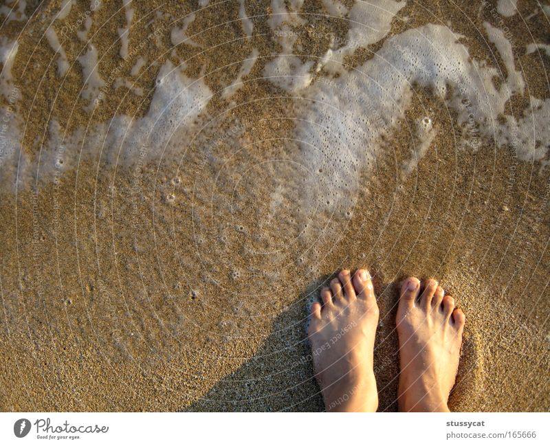 Frau Wasser Ferien & Urlaub & Reisen Sommer Meer Freude Strand ruhig Erwachsene Leben Freiheit Fuß Wellen Ausflug Lifestyle Gelassenheit