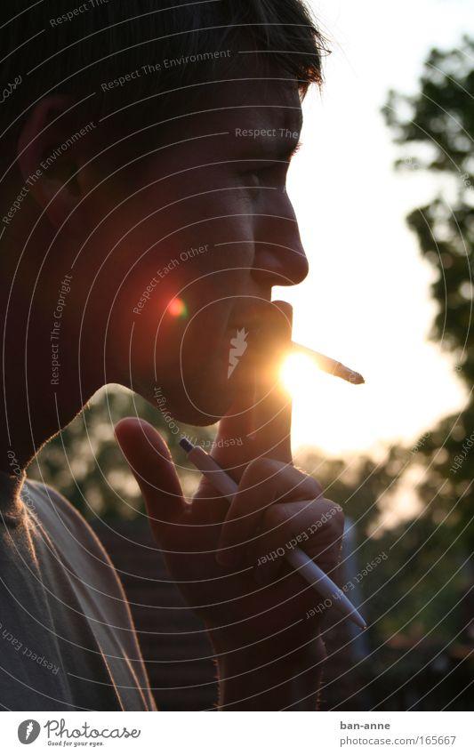 An der Zissl ziehen Mensch Jugendliche Sonne Sommer Gesicht ruhig Wärme Erwachsene maskulin gold Rauchen leuchten Schreibstift Sucht Laster Mann