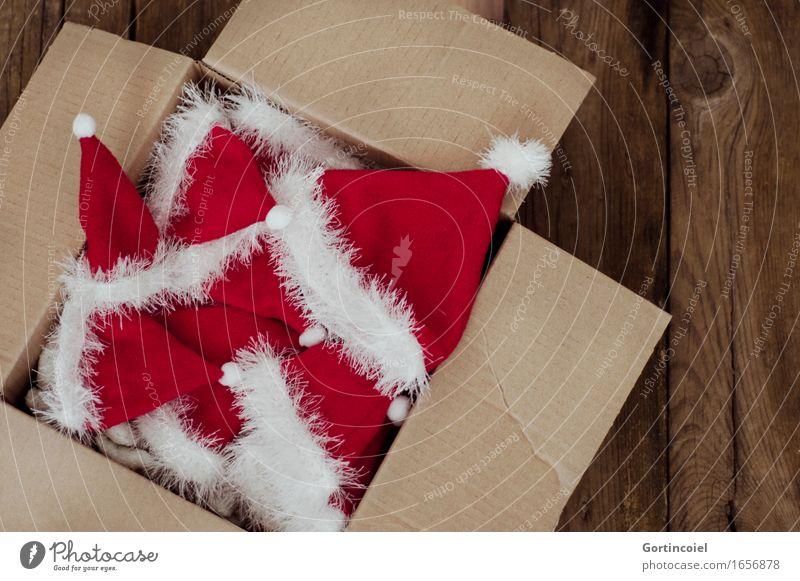 Nikolaus Kasten Dekoration & Verzierung Kitsch Krimskrams rot weiß Karton Nikolausmütze Weihnachten & Advent Weihnachtsdekoration Farbfoto Gedeckte Farben