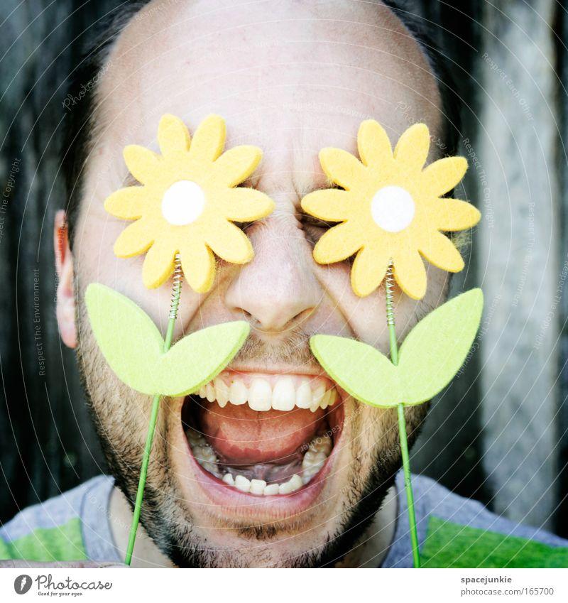Flower Power Mensch Natur Pflanze Sommer Blume Gesicht Kopf Blüte Frühling lustig bedrohlich Bart schreien Punk Aggression kurzhaarig