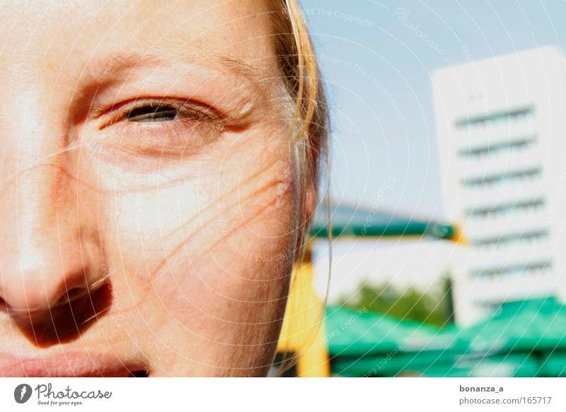sandra. Farbfoto Außenaufnahme Nahaufnahme Detailaufnahme Makroaufnahme Textfreiraum rechts Tag Licht Sonnenlicht Zentralperspektive Porträt Vorderansicht Blick
