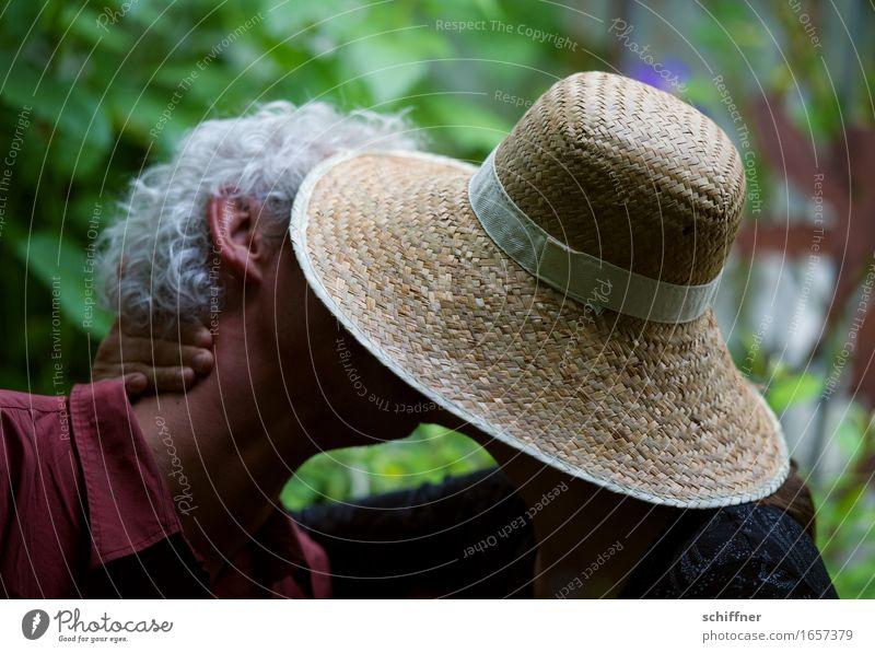 AST 9 | Im festen Griff des Sonnenhutes Mensch Frau Erwachsene Mann Paar Partner Leben Kopf 2 45-60 Jahre Küssen Liebe Liebespaar Liebesaffäre Liebesbekundung