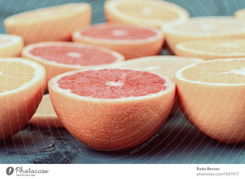 Orangen-, Grapefruit- und Zitronen-Zitrusfrucht-Scheiben Natur blau Gesunde Ernährung rot gelb Leben Essen Gesundheit Lebensmittel Gesundheitswesen Frucht