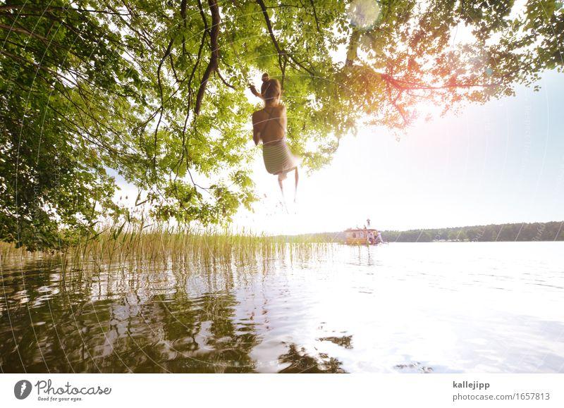 mit schwung Mensch Kind Natur Ferien & Urlaub & Reisen Sommer Wasser Sonne Baum Blatt Mädchen Umwelt Küste feminin Spielen Schwimmen & Baden Tourismus