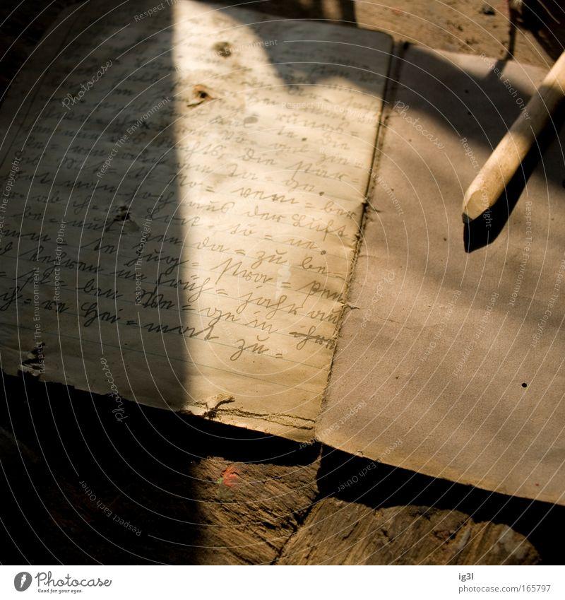 lost memories Einsamkeit gelb Erholung Denken braun Buch gold Armut Schriftzeichen kaputt authentisch retro Hoffnung schreiben geheimnisvoll Zeichen