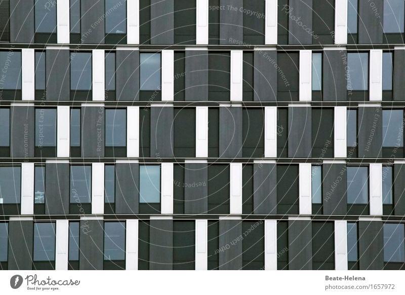 Fassadenkunst weiß Haus Fenster schwarz Architektur Business Gebäude außergewöhnlich Arbeit & Erwerbstätigkeit Design Dekoration & Verzierung Hochhaus