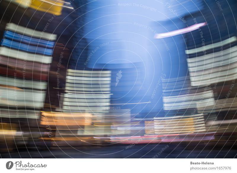 Vibration | bringt die Welt ins Schwanken Ferien & Urlaub & Reisen blau weiß rot Umwelt Straße Lifestyle Fassade Arbeit & Erwerbstätigkeit gold Hochhaus Kraft