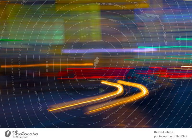 Rushhour Ferien & Urlaub & Reisen Straße Bewegung Kraft ästhetisch Geschwindigkeit kaufen fahren Eile Stadtzentrum Autofahren unterwegs Lichtspiel
