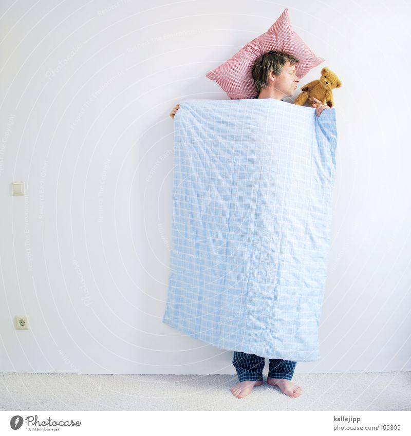 sigmunds freund geschlossene Augen Wohlgefühl Zufriedenheit Erholung ruhig Schlafzimmer Mensch Mann Erwachsene 1 30-45 Jahre schlafen träumen verrückt Teddybär