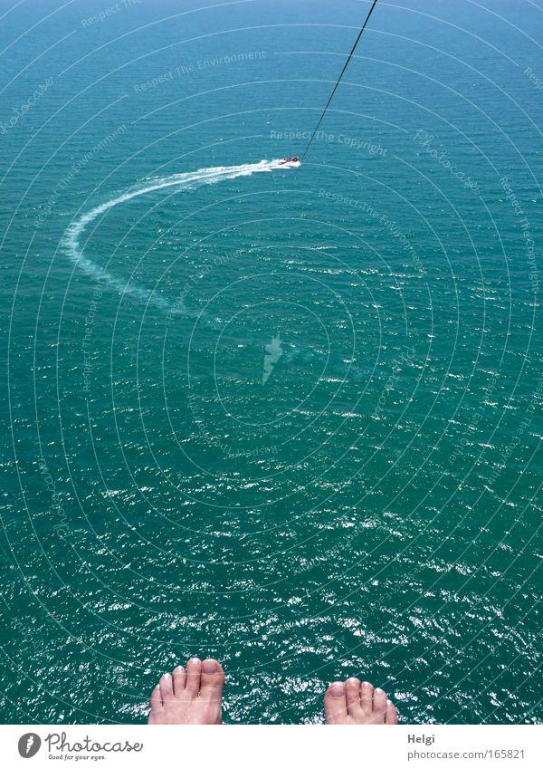 ganz hoch oben... Mensch Natur blau Wasser grün schön Sommer Meer Freude oben Wärme Fuß fliegen hoch außergewöhnlich ästhetisch