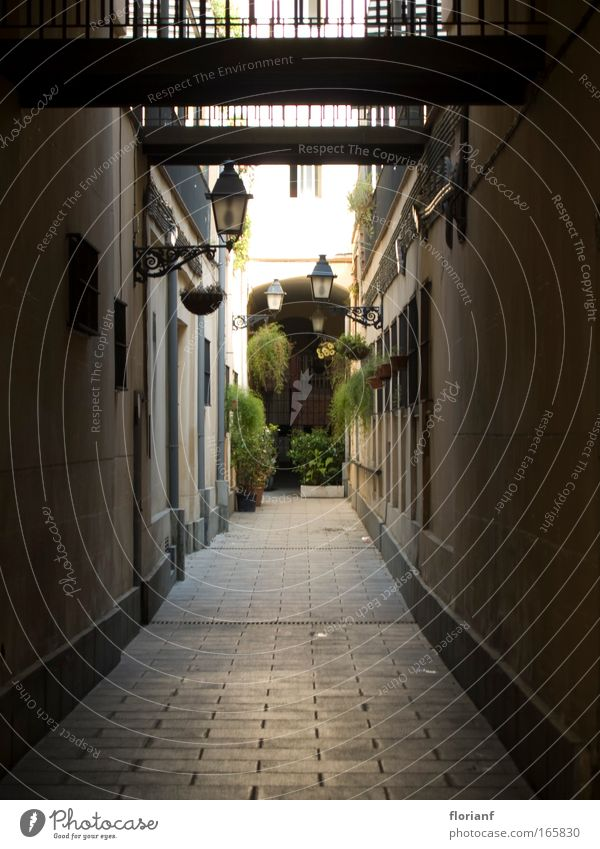 Eine Gasse in Barcelona Farbfoto Außenaufnahme Schwache Tiefenschärfe Weitwinkel Spanien Europa Altstadt Menschenleer Fassade alt Laterne Innenhof Stadt