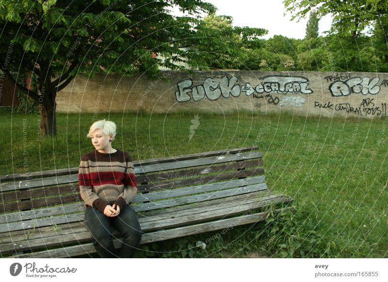 gute aussichten für die zukunft Bank Natur Baum Mensch alone Graffiti grau weiß Streifen Asymmetrie ungewiss warten fuck Zeit Einsamkeit blond Angst fade