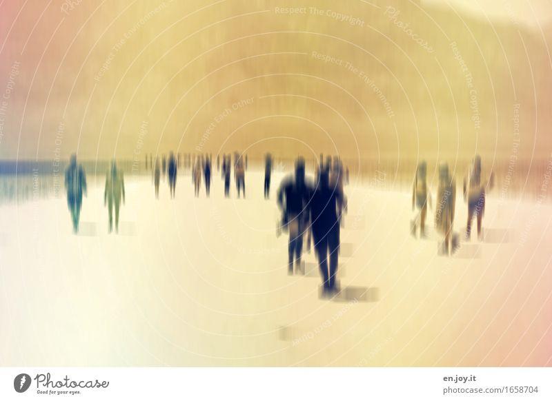 Menschenseelen Menschenmenge Horizont Sonnenlicht Sommer Klimawandel Wüste gehen stehen fantastisch gelb Hoffnung Glaube träumen Traurigkeit Trauer Tod