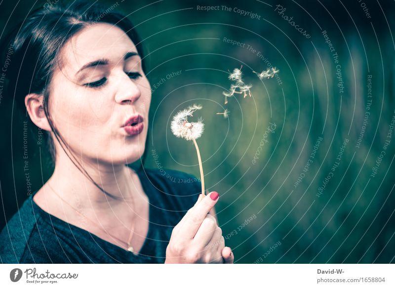 Pusteblume Lifestyle Mensch feminin Junge Frau Jugendliche Erwachsene Leben Kopf Haare & Frisuren Gesicht Mund Lippen Hand 1 Kunst Umwelt Natur Sommer Klima