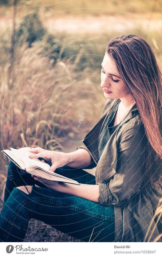 Es war einmal... Mensch Frau Natur Ferien & Urlaub & Reisen Jugendliche schön Junge Frau ruhig Erwachsene Umwelt Leben Wiese Schule Freiheit Freizeit & Hobby