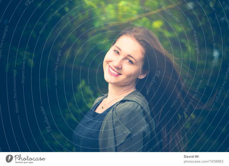 Oh Happy Day Freude Glück schön Ferien & Urlaub & Reisen Mensch feminin Junge Frau Jugendliche Erwachsene Leben 1 Umwelt Natur Sonnenlicht Schönes Wetter Wald