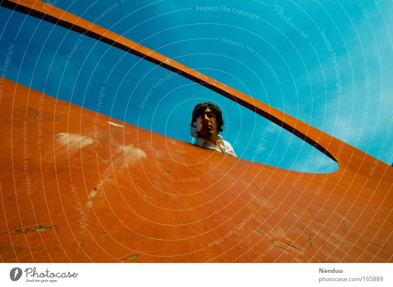 [MUC-09] Durchsicht Mensch Mann Jugendliche blau Sommer Erwachsene Stil orange maskulin Lifestyle 18-30 Jahre Locken Durchblick Mittelpunkt schwarzhaarig