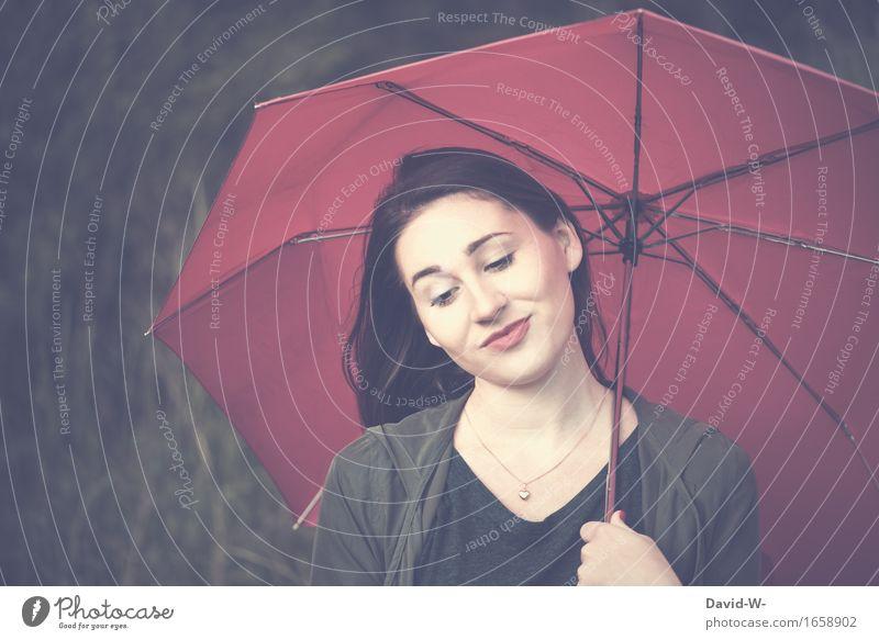 mit Regenschirm Mensch Frau Jugendliche schön Junge Frau Erholung ruhig Mädchen Erwachsene Leben Herbst Lifestyle feminin Gesundheit Mode