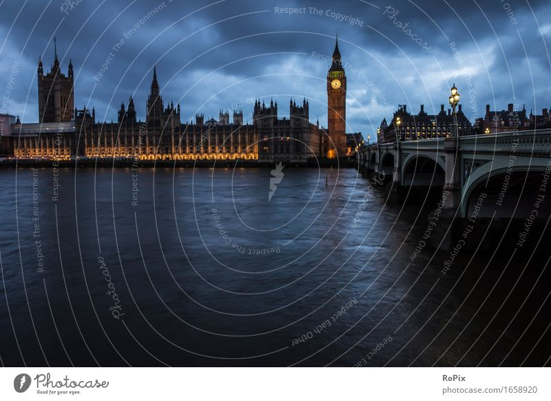 house of parliament Umwelt Landschaft Urelemente Wasser Himmel Wolken Nachthimmel Flussufer London Big Ben England Stadt Hauptstadt Stadtzentrum Skyline Kirche