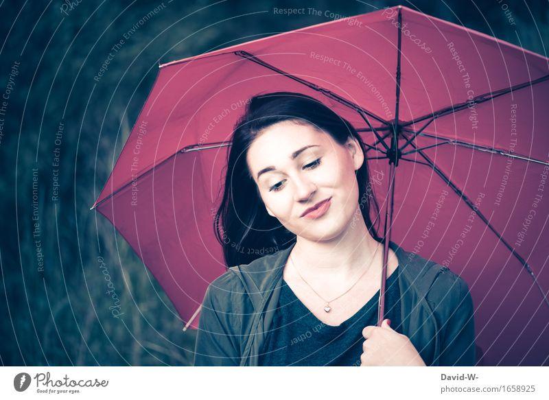 Beauty Lifestyle schön Mensch feminin Junge Frau Jugendliche Erwachsene Leben Natur Gefühle Stimmung Regenschirm brünett bezaubernd attraktiv schlechtes Wetter