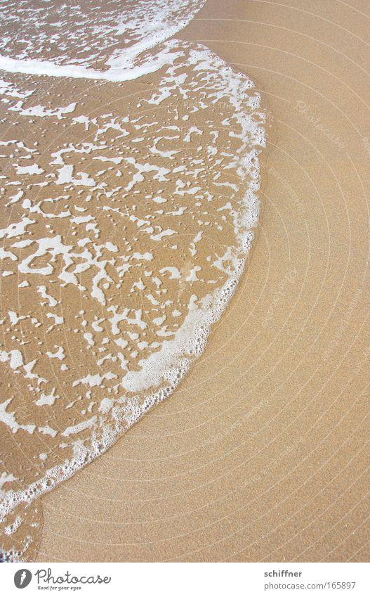 Schaumschläger Farbfoto Außenaufnahme Sonnenlicht Wasser Wellen Küste Seeufer Flussufer Strand Meer Insel Sand blond Flüssigkeit Gezeiten Gischt Tag