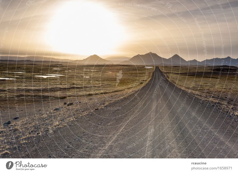 Natur Sommer Landschaft ruhig Reisefotografie Berge u. Gebirge Straße Europa Island Wildnis Straight Edge