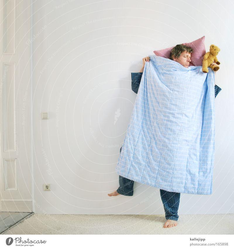 bettge-stell Mensch Mann weiß ruhig Erholung Wand träumen Zufriedenheit Erwachsene verrückt schlafen Bett Schlafstörung Spielzeug Meditation